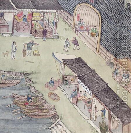 View of a Market in China (2) by Anonymous Artist - Reproduction Oil Painting
