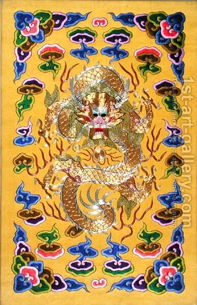 An Embroidered Chinese Dragon, from the front cover of a Franco-Chinese diplomatic treaty by Anonymous Artist - Reproduction Oil Painting