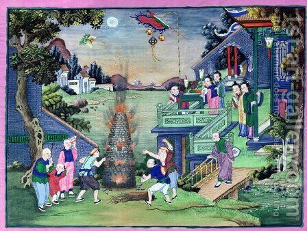 Celebration with Fireworks and Kites by Anonymous Artist - Reproduction Oil Painting