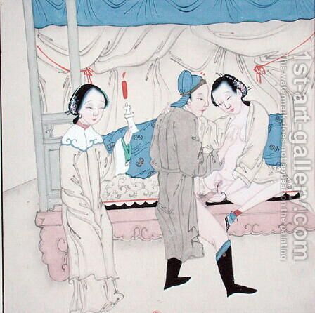 A Man with Two Women by Anonymous Artist - Reproduction Oil Painting