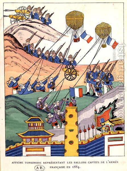 Poster showing the French troops using captured balloons at the time of the conquest of Tonkin, 1884 by Anonymous Artist - Reproduction Oil Painting