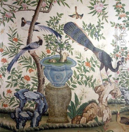 Bird Wallpaper, c.1840 (2) by Anonymous Artist - Reproduction Oil Painting
