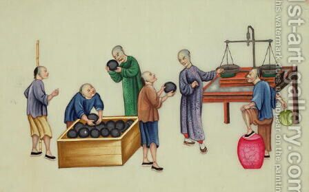 Chinese dealers testing and weighing opium, from 'The Evils of Opium Smoking' by Anonymous Artist - Reproduction Oil Painting
