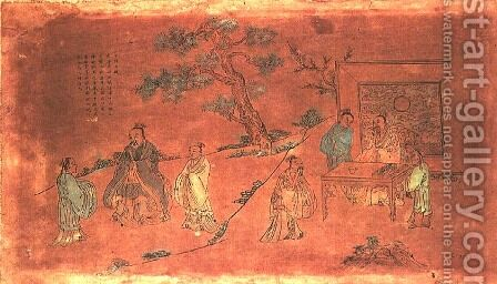 Scene from the life of Confucius (c.551-479 BC) and his disciples, Qing Dynasty (1644-1912) by Anonymous Artist - Reproduction Oil Painting