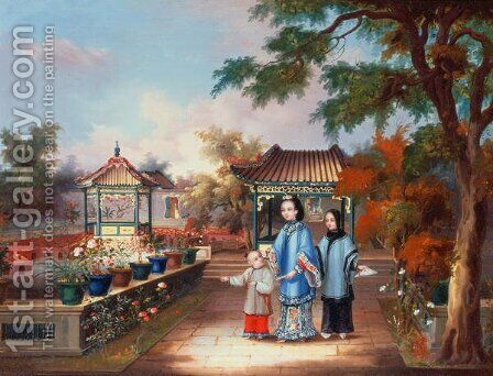 A mother with her children in a chinese garden, c.1850 by Anonymous Artist - Reproduction Oil Painting