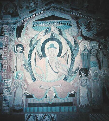 Shakyamuni Buddha preaching, surrounded by Bodhisattvas and Aspareses, Nanbeichao II period, 501-580 AD by Anonymous Artist - Reproduction Oil Painting