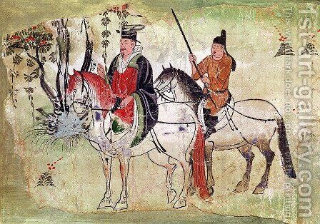 Two Horsemen in a Landscape or, The Boddhisatva and his Equerry, Tang Period by Anonymous Artist - Reproduction Oil Painting