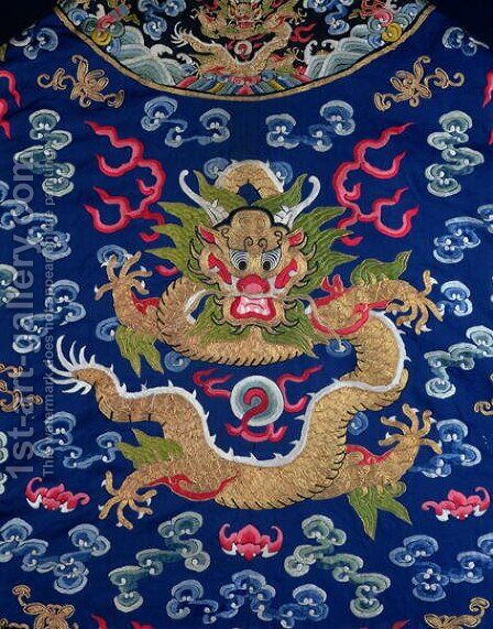 A blue-ground embroidered Kesi dragon robe (detail of dragon) by Anonymous Artist - Reproduction Oil Painting