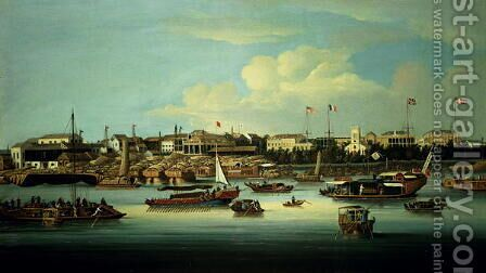 A View of the Hongs by (circle of) Chinnery, George (1774-1852) - Reproduction Oil Painting