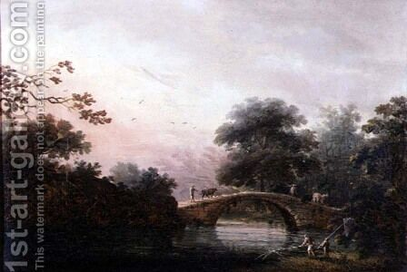 Drovers Guiding Cattle Over a Bridge by (circle of) Chinnery, George (1774-1852) - Reproduction Oil Painting
