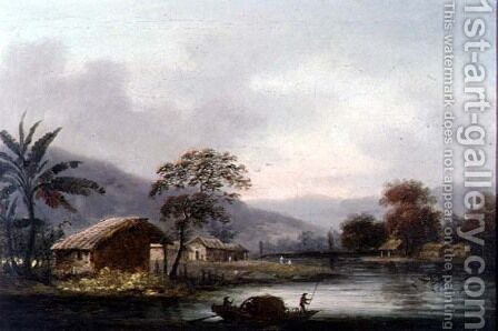 Figures Guiding a Sampan Round a Bend in a River, Past a Village by (circle of) Chinnery, George (1774-1852) - Reproduction Oil Painting