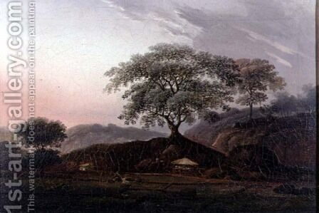 A Sentinel Tree Overlooking Farmland by (circle of) Chinnery, George (1774-1852) - Reproduction Oil Painting