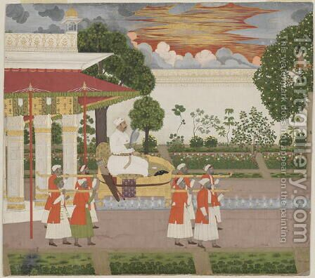 Muhammad Shah in a Palanquin, c.1730-40 by (attr. to) Chitarman (fl.1715-1760) - Reproduction Oil Painting