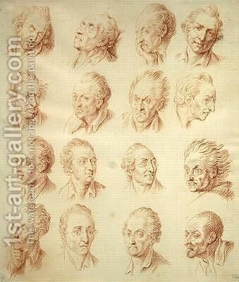 Studies of Facial Expressions by Daniel Nikolaus Chodowiecki - Reproduction Oil Painting