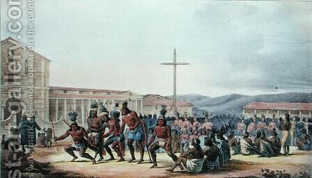 Ritual dance of the natives of California, at the Mission of San Francisco, from 'Voyage Pittoresque Autour du Monde' by (After) Choris, Ludwig (Louis) - Reproduction Oil Painting