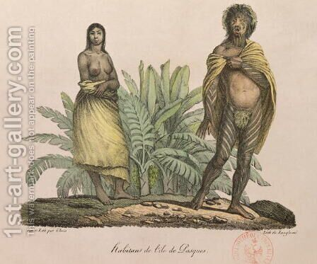 Inhabitants of Easter Island, from 'Voyage Pittoresque Autour du Monde', 1822 by (After) Choris, Ludwig (Louis) - Reproduction Oil Painting