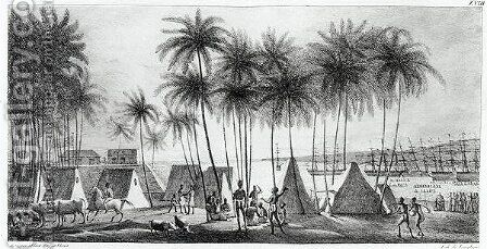 Port of Hanarourou in the Sandwich Islands, from 'Voyage Pittoresque autour du Monde', 1822 2 by (After) Choris, Ludwig (Louis) - Reproduction Oil Painting