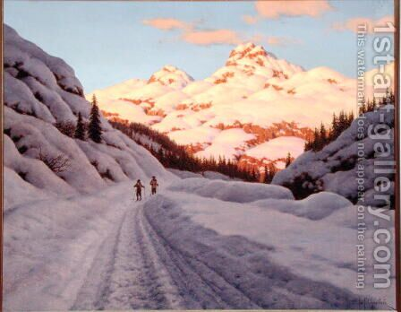 The Late Afternoon Ski Run by Ivan Fedorovich Choultse - Reproduction Oil Painting