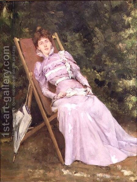 Woman in lilac by Andre Chrysenaar - Reproduction Oil Painting
