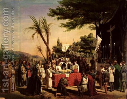 Funeral of Godfrey of Bouillon (c.1060-1100) in Jerusalem, 23rd July 1100, 1838 by Edouard (Francois Berthelemy Michel) Cibot - Reproduction Oil Painting