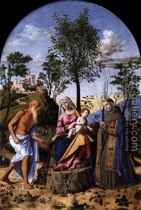 Madonna of the Orange Tree with St. Ludovic of Toulouse and St. Jerome, 1496-98 by Giovanni Battista Cima da Conegliano - Reproduction Oil Painting