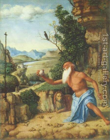 St.Jerome in a Landscape, c.1500-10 by Giovanni Battista Cima da Conegliano - Reproduction Oil Painting
