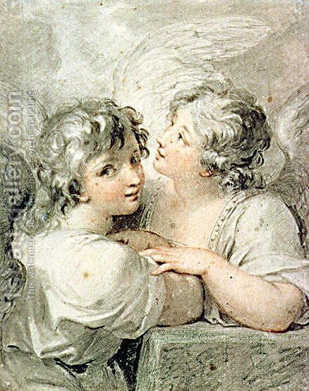 Two angels by Giovanni Battista Cipriani - Reproduction Oil Painting