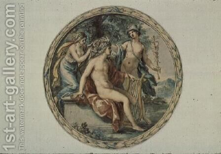 Apollo with his Lyre, Mercury and a Muse by Giovanni Battista Cipriani - Reproduction Oil Painting