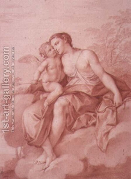 Venus Reclining on a Cloud, Embracing Cupid by Giovanni Battista Cipriani - Reproduction Oil Painting