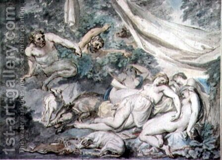 Nymphs Surprised by Satyrs by Giovanni Battista Cipriani - Reproduction Oil Painting