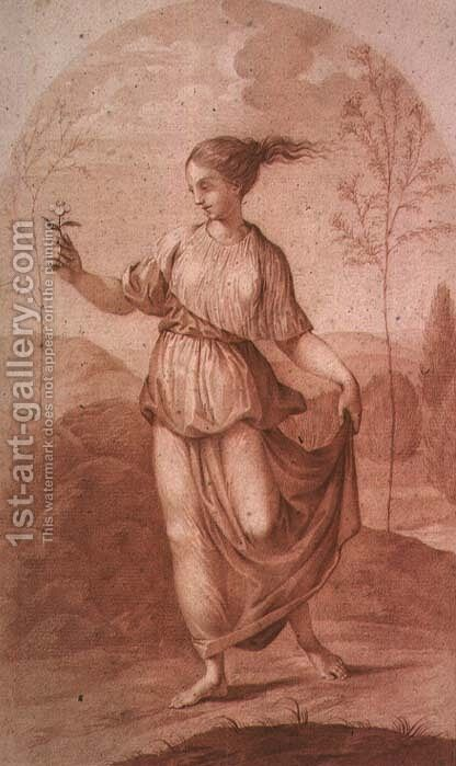 A Young Woman walking bare-footed in a Landscape by Giovanni Battista Cipriani - Reproduction Oil Painting