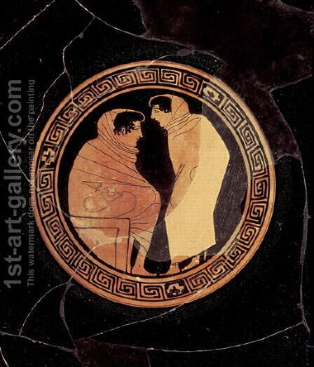 Attic red-figure kylix depicting a conversation between to male figures, c.450 BC by Circle of the Penthesilia Painter - Reproduction Oil Painting