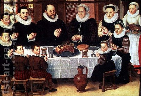 A Family Saying Grace Before the Meal, 1585 by Antoon Claeissens - Reproduction Oil Painting