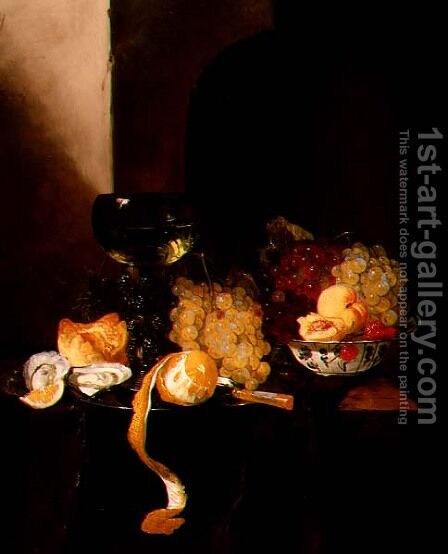 A Still Life with Fruit, a Peeled Lemon and a Roemer on a Ledge by Jacques de Claeuw - Reproduction Oil Painting
