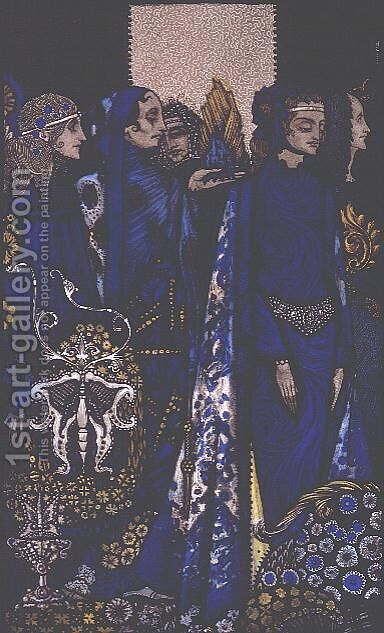 """Etain, Helen, Maeve and Fand, Golden Deirdre's Tender Hand"" by Harry Clarke - Reproduction Oil Painting"