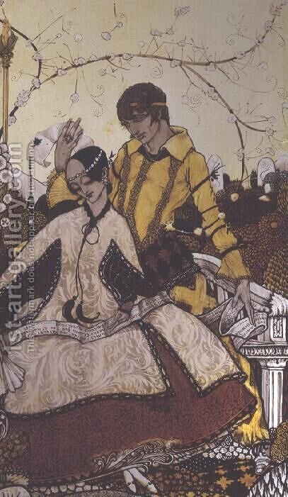 """Seven dog-days we let pass, naming Queens in Glenmacnass"" by Harry Clarke - Reproduction Oil Painting"