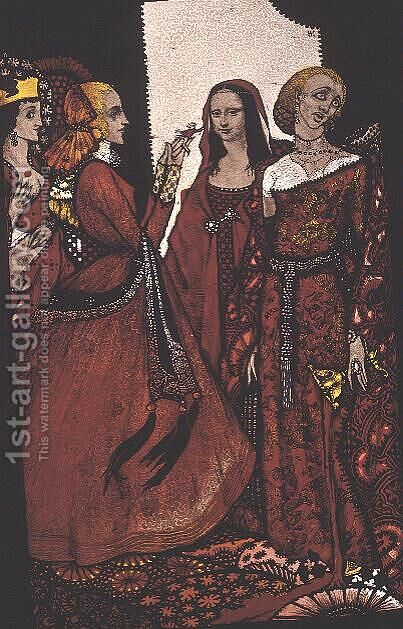 """Queens whose finger once did stir men"" by Harry Clarke - Reproduction Oil Painting"