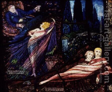 The Geneva Window depicting 'Mr Gilhooley' by Liam O'Flaherty and 'Deirdre' , 1929 by Harry Clarke - Reproduction Oil Painting