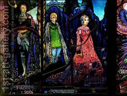 Detail from the Geneva Window showing 'The Dreamers' and 'Countess Cathleen' by Harry Clarke - Reproduction Oil Painting