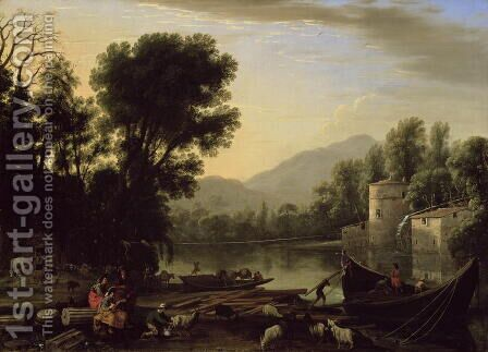 Mill on a River, c.1631 by Claude Lorrain (Gellee) - Reproduction Oil Painting