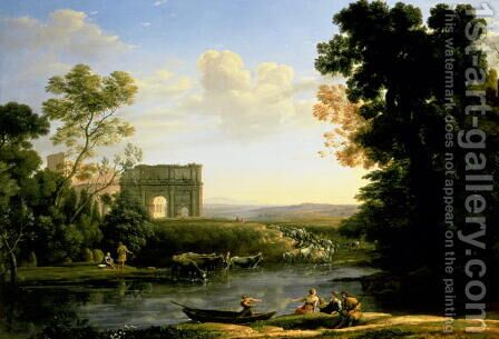 Pastoral Capriccio with the Arch of Constantinople by Claude Lorrain (Gellee) - Reproduction Oil Painting