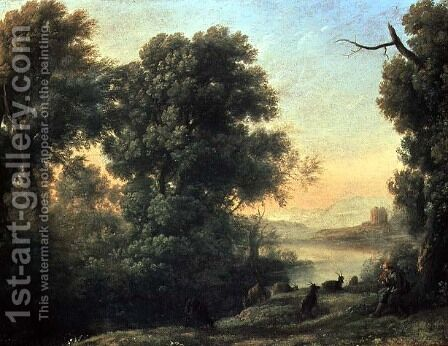 River landscape with Goatherd Piping by Claude Lorrain (Gellee) - Reproduction Oil Painting