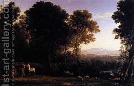 Landscape with Erminia in Discourse with the Old Man and his Sons by Claude Lorrain (Gellee) - Reproduction Oil Painting