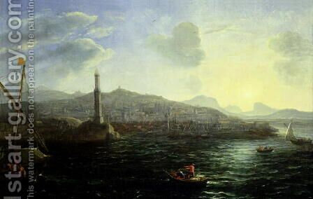 The Port of Genoa, Sea View by Claude Lorrain (Gellee) - Reproduction Oil Painting