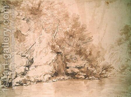 A Study for a landscape by Claude Lorrain (Gellee) - Reproduction Oil Painting