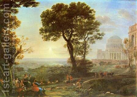 Imaginary View of Delphi with a Procession by Claude Lorrain (Gellee) - Reproduction Oil Painting