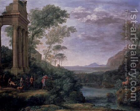Landscape with Figures by Claude Lorrain (Gellee) - Reproduction Oil Painting