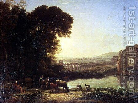 Cattle and Goats drinking by a ruin by Claude Lorrain (Gellee) - Reproduction Oil Painting