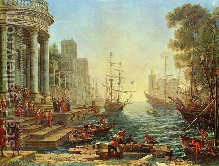 Seaport with the Embarkation of St. Ursula by Claude Lorrain (Gellee) - Reproduction Oil Painting