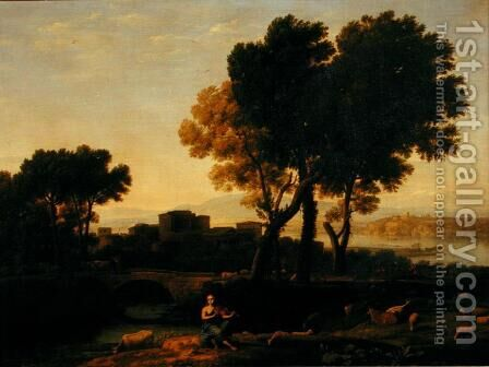 Landscape with Apollo guarding the Cattle of Admetus and Mercury stealing them by Claude Lorrain (Gellee) - Reproduction Oil Painting